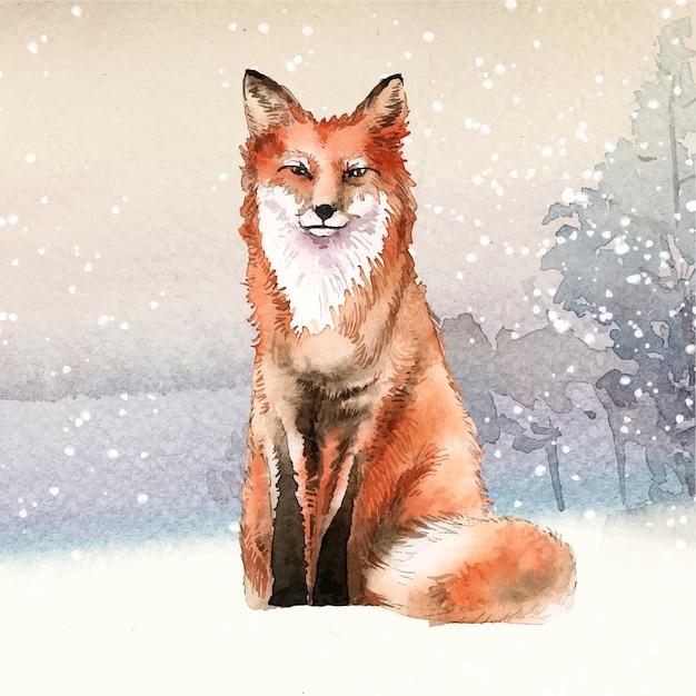 Renard dessiné à la main dans le style aquarelle de neige Vecteur gratuit