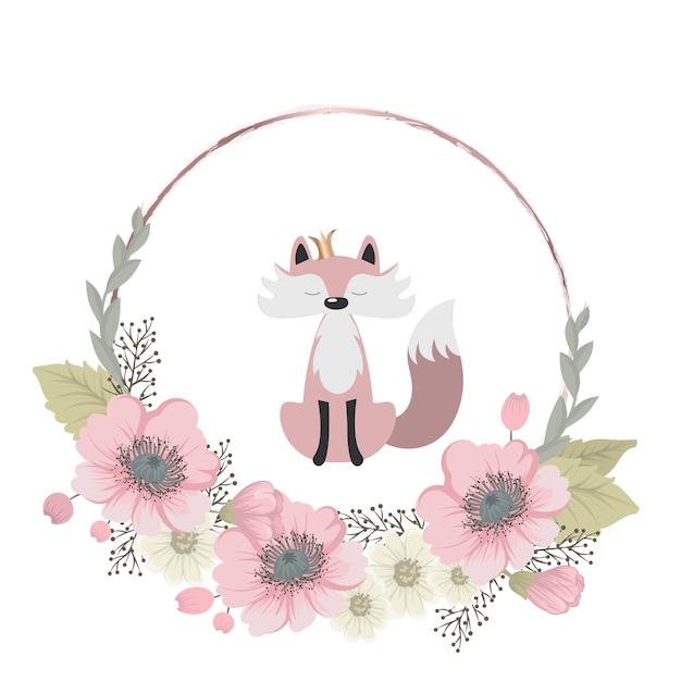 Le renard mignon et doux recueille des fleurs Vecteur Premium