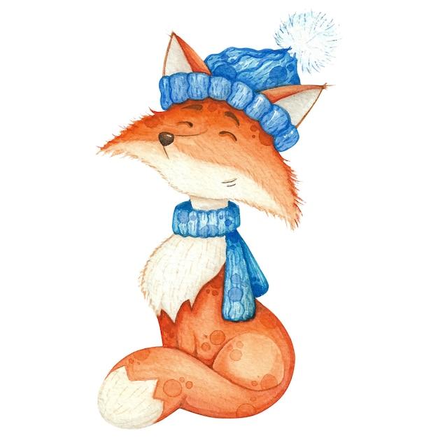 Renard mignon en écharpe bleue et bonnet. illustration aquarelle Vecteur Premium