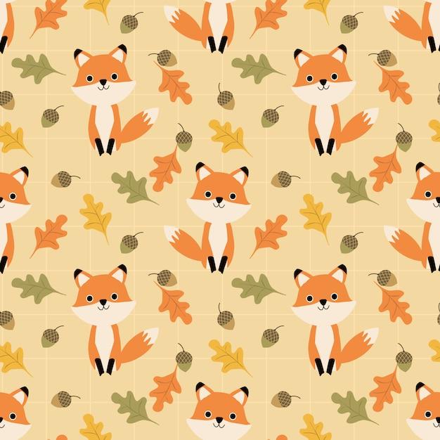 Renard mignon et feuilles d'automne modèle sans couture. Vecteur Premium