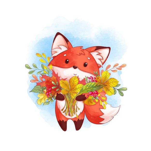 Renard roux mignon avec un grand bouquet de feuilles mortes. l'automne Vecteur Premium