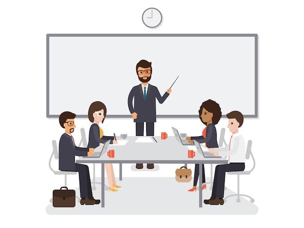 Rencontre d'hommes d'affaires et de femmes d'affaires. Vecteur Premium