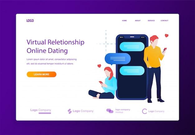 Rencontres et discussions en ligne sur un concept d'illustration mobile pour site web ou page de destination Vecteur Premium