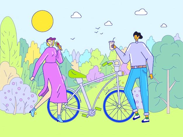 Rencontres Romantiques De Couple, Illustration De Concept De Ligne. Caractère De Femme Homme Heureux Marchant Dans Le Parc à Vélo, Loisirs Vecteur Premium