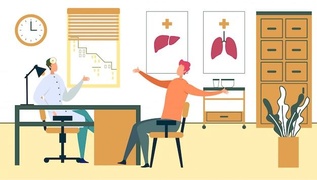Rendez-vous Avec Un Patient De Sexe Masculin Au Cabinet Du Médecin De Famille Vecteur Premium