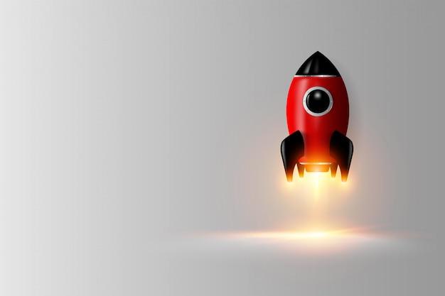 Rendu 3d de fusée numérique moderne Vecteur Premium