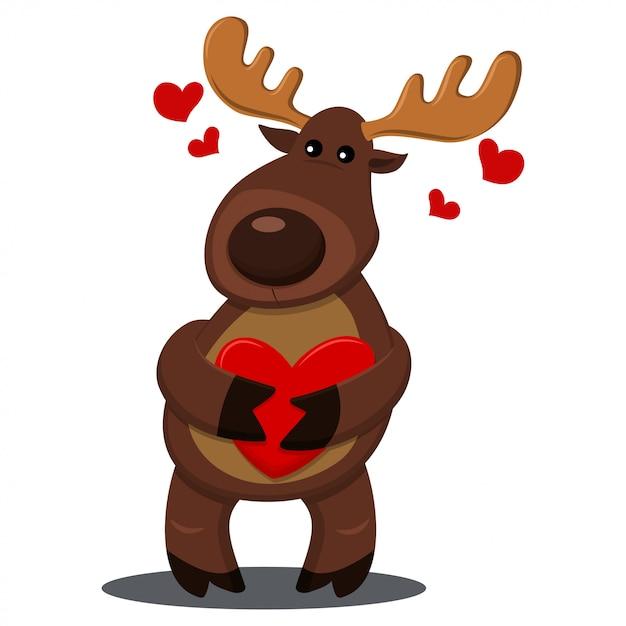 Renne Au Coeur Rouge. Illustration De Dessin Animé De Vecteur Avec Animal Pour Les Vacances Isolées Vecteur Premium
