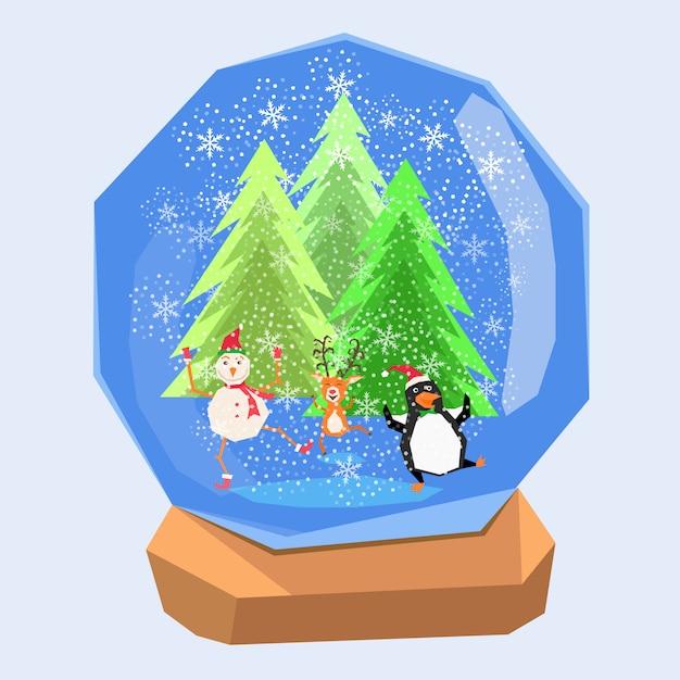 Renne de bonhomme de neige et pingouin dans la boule d'eau de cristal de scène de neige de noël Vecteur Premium