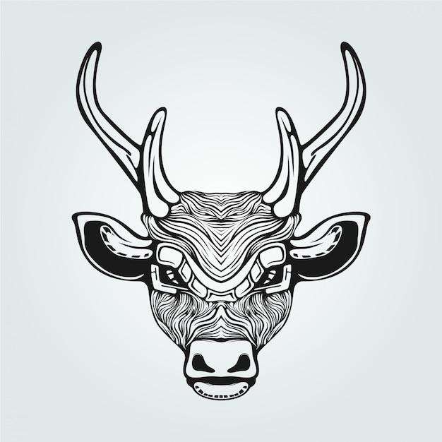 Renne ligne art noir et blanc décoratif Vecteur Premium