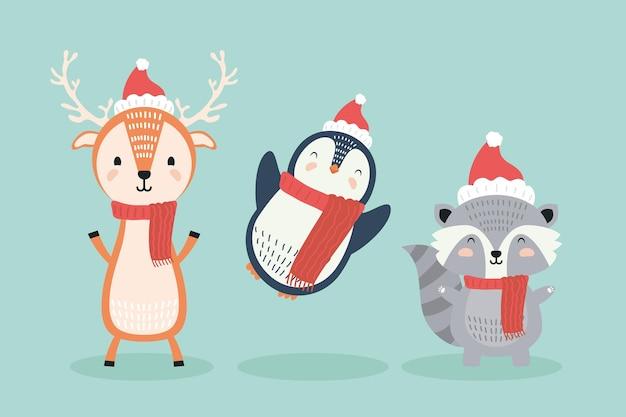 Renne Et Pingouin Avec Raton Laveur Portant Des Personnages De Vêtements De Noël Vecteur Premium