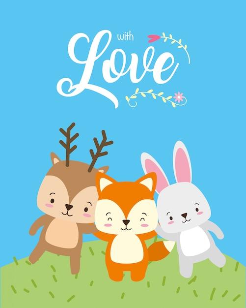 Renne, renard et lapin, animaux mignons, style plat et cartoon, illustration Vecteur gratuit