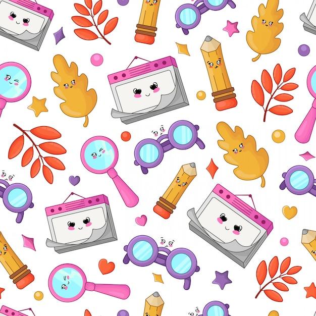 La rentrée scolaire de kawaii le motif des accessoires kawaii de la rentrée scolaire Vecteur Premium