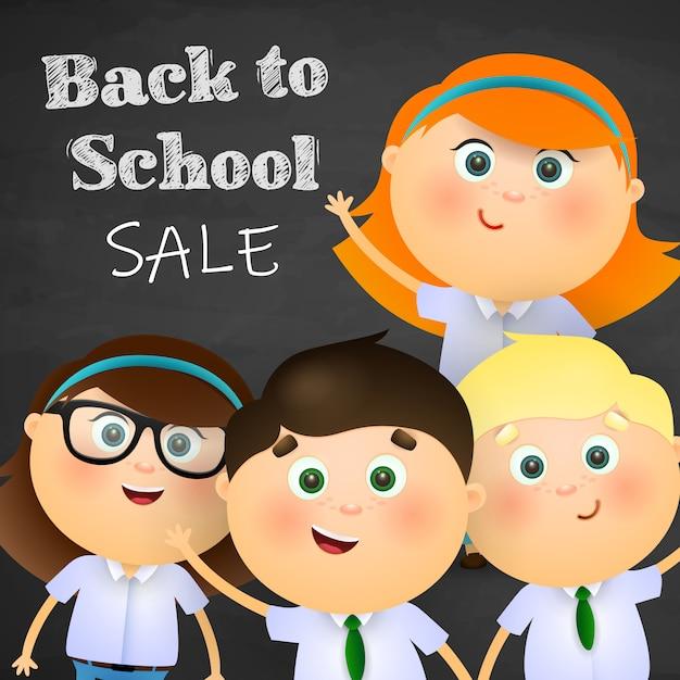 Rentrée scolaire, lettrage de vente avec garçons et filles heureux Vecteur gratuit