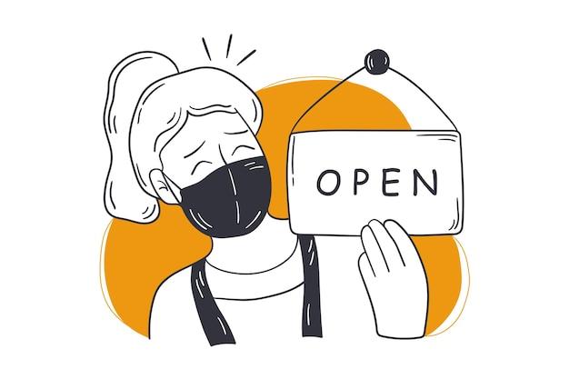Réouverture, Boutique, Concept De Petite Entreprise. Vecteur Premium