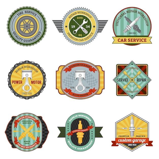 Repair Workshop Retro Badges Vecteur gratuit