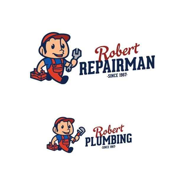 Réparateur et plombier logo Vecteur Premium