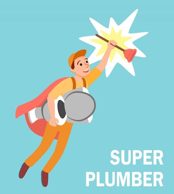 Réparateur de super-héros de dessin animé avec plongeur de toilette Vecteur Premium