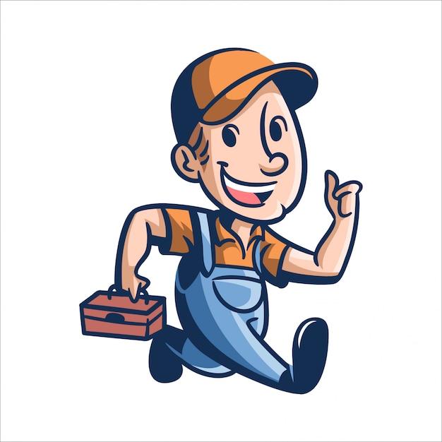 Réparation De Cartoon Joe Vecteur Premium