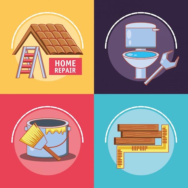 Réparation à domicile avec des outils mis en icônes Vecteur Premium