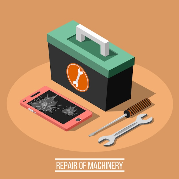 Réparation Du Concept De Conception Isométrique Machinaire Vecteur gratuit