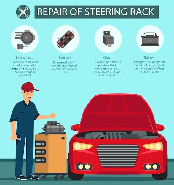 Réparation du relais de boîte à fusibles de batterie de crémaillère. Vecteur Premium