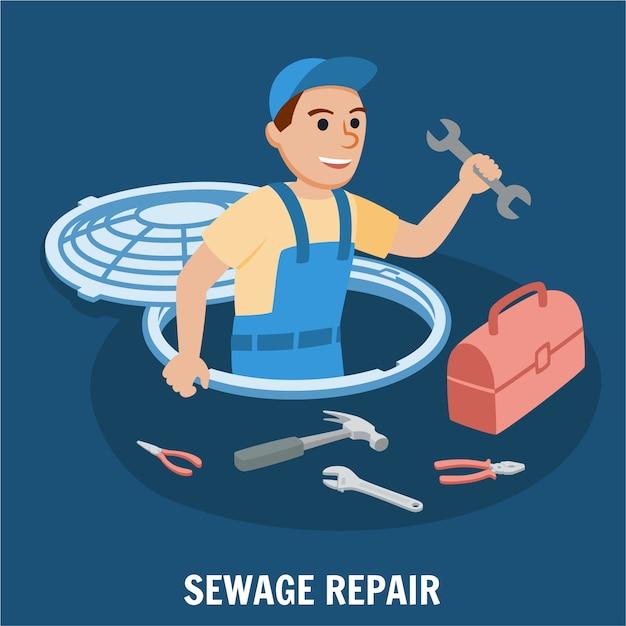 Réparation des eaux usées Vecteur Premium