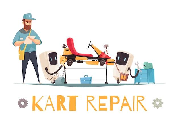 Réparation De Kart Vecteur gratuit