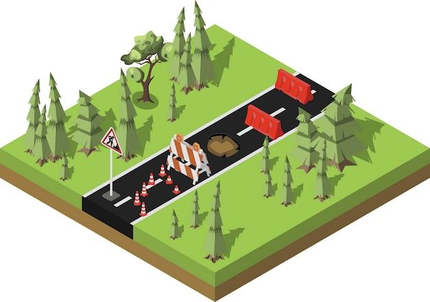 Réparation des routes, route forestière en construction, entretien et construction de la chaussée. Vecteur Premium