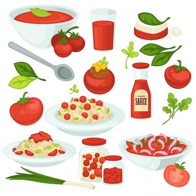 Repas à base de tomates, salades et plats avec ingrédient végétal à la tomate. Vecteur Premium