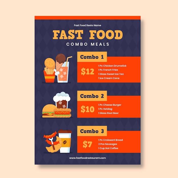 Repas Combinés - Modèle D'affiche Vecteur gratuit