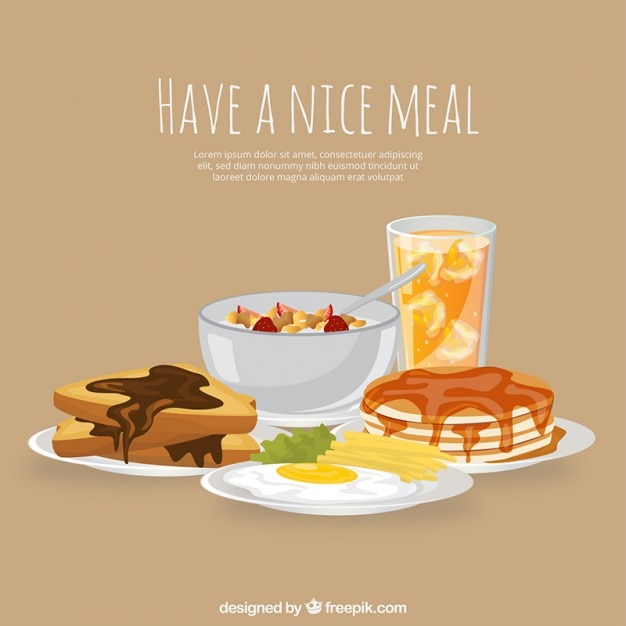 Repas complet avec des plats délicieux Vecteur gratuit