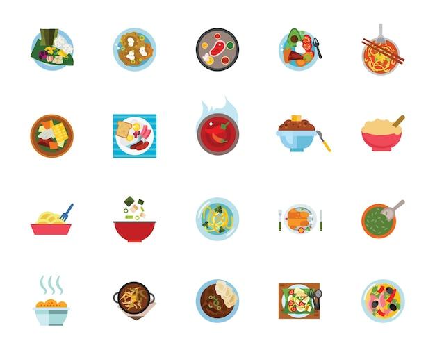 Repas jeu d'icônes Vecteur gratuit
