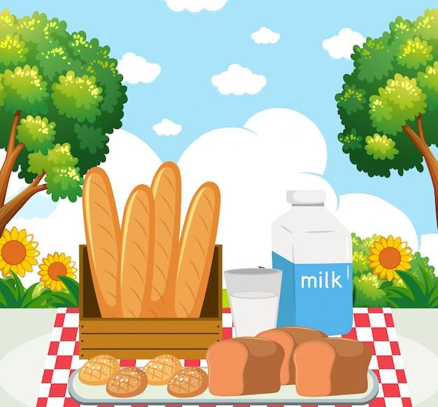 Repas pique-nique dans le parc Vecteur gratuit