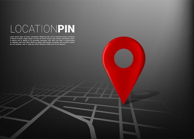 Repère en 3d sur la carte routière de la ville. concept pour système de navigation gps infographique Vecteur Premium