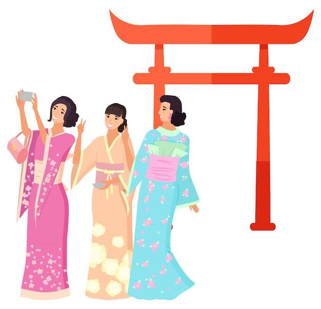 Repère du japon, tir geisha, vecteur torii Vecteur Premium