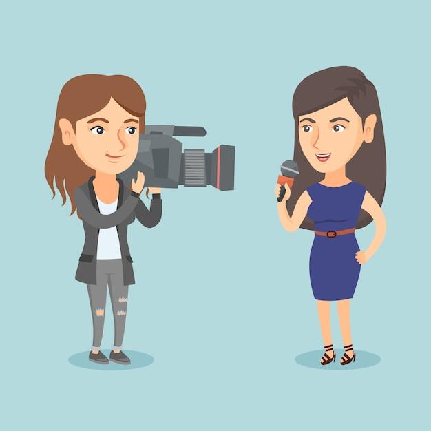 Reporter avec un micro présentant les nouvelles. Vecteur Premium