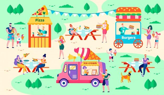 Repos et nourriture à city park vector illustration. Vecteur Premium