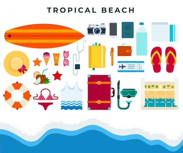 Repos de plage tropicale, ensemble d'accessoires de plage d'été. illustration de plat vector Vecteur Premium
