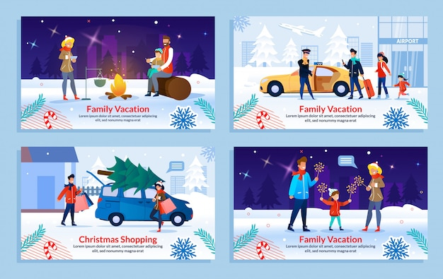 Reposez-vous sur les vacances en famille en hiver bannière ensemble Vecteur Premium