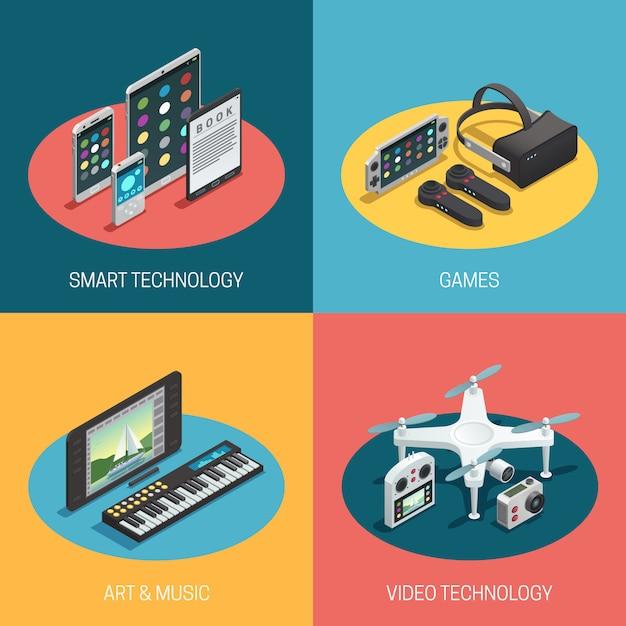 Représentant différents gadgets technologie intelligente jeux art musique vidéo Vecteur gratuit