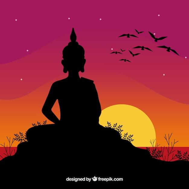 Représentation budha avec style de silhouette Vecteur gratuit