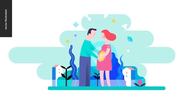 Reproduction - un couple enceinte Vecteur Premium