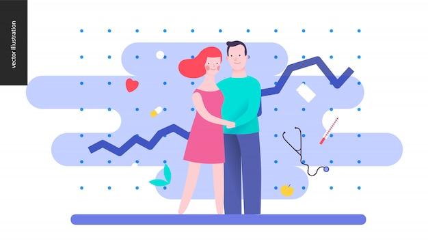 Reproduction - un couple qui planifie un bébé Vecteur Premium