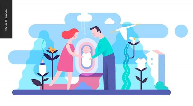 Reproduction - une famille avec un bébé Vecteur Premium