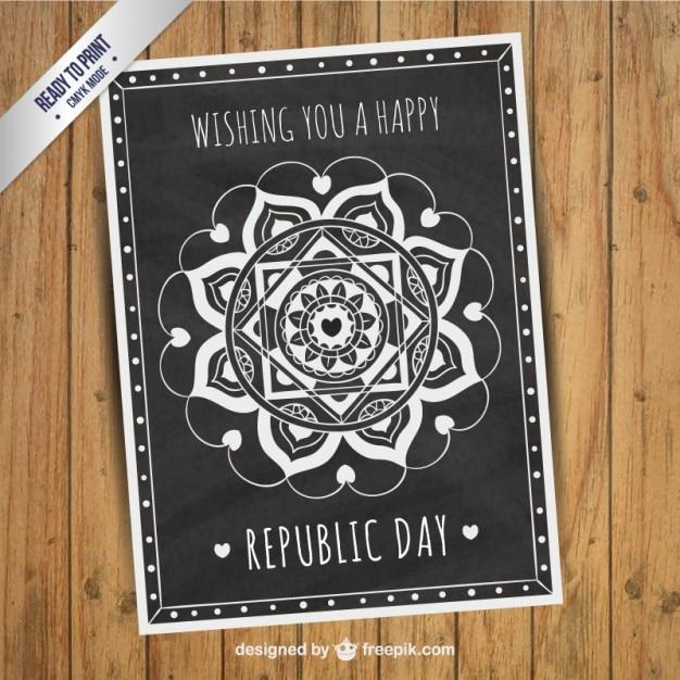 République carte du jour dans le style tableau noir Vecteur gratuit