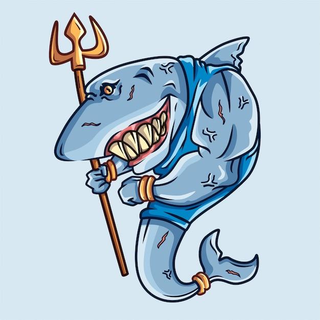 Requin guerrier Vecteur Premium