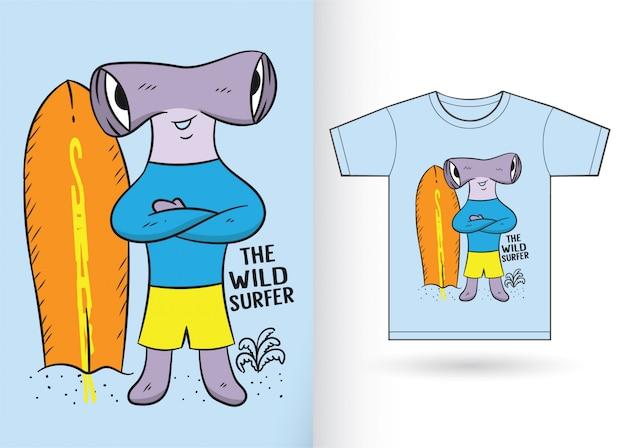 Requin marteau de dessin animé pour t-shirt Vecteur Premium