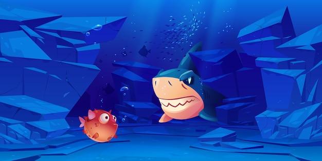 Requin Et Poisson-globe Au Fond De La Mer Ou De L'océan Avec Des Roches Autour. Vecteur gratuit