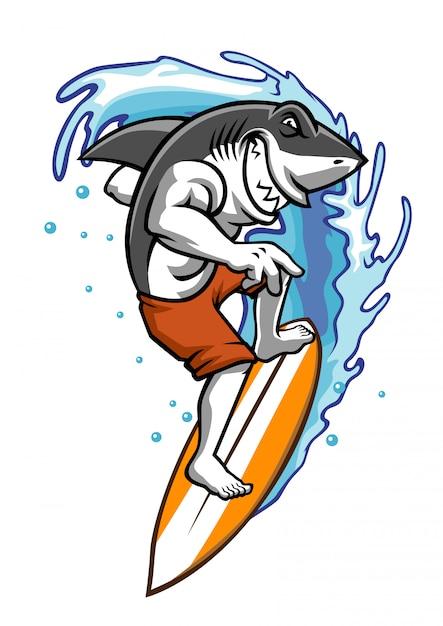 Un requin s'amuse à surfer sur l'eau Vecteur Premium