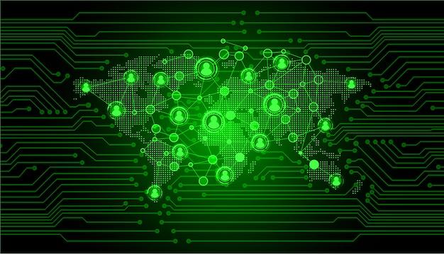 Réseau de la communauté d'affaires avec la carte du monde, homme d'affaires Vecteur Premium